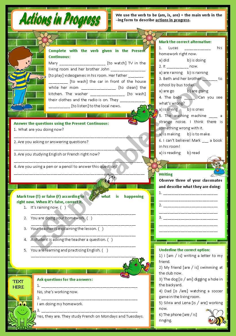 Actions in Progress – Present Continuous practice with a brief introduction [7 easy tasks for beginners] KEYS INCLUDED ((2 pages)) ***editable